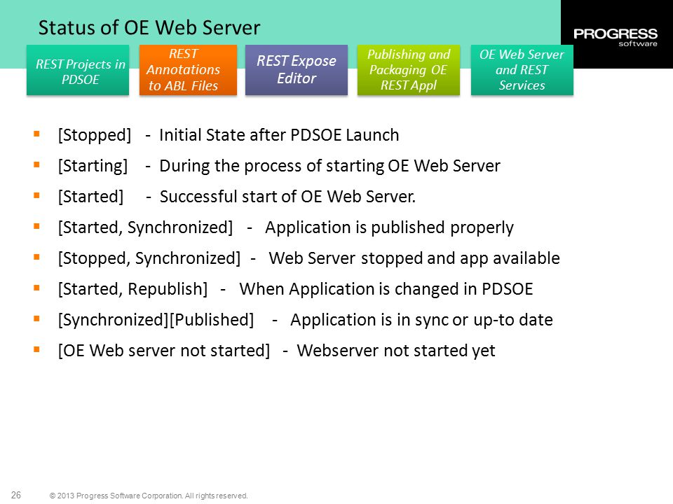 Status of OE Web Server [Stopped] - Initial State after PDSOE Launch